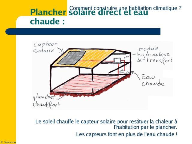 plancher solaire direct et eau chaude. Black Bedroom Furniture Sets. Home Design Ideas